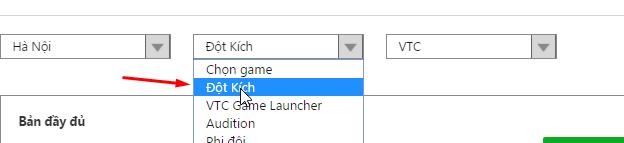 chọn game đột kích trong danh sách