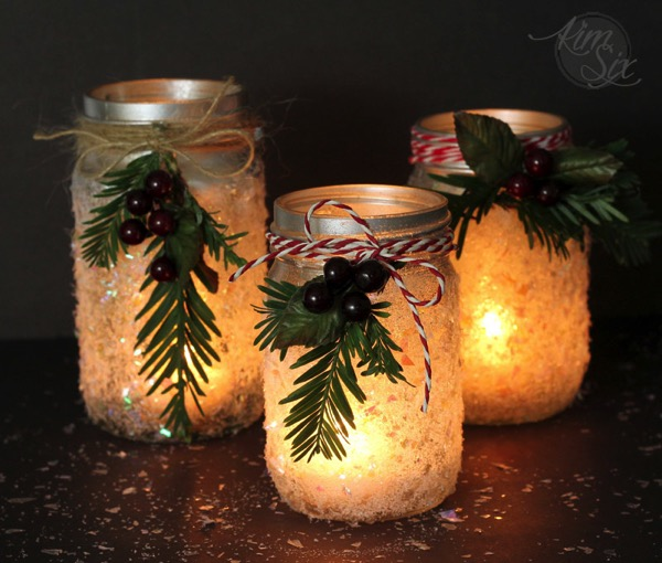 Glowing Candle Mason Jars