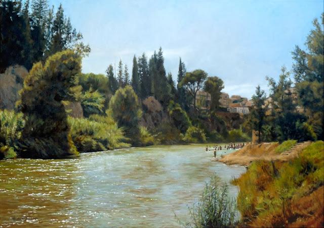 tarde de agosto en blanca,pintura al óleo de fidel Molina