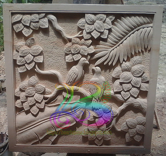 Relief burung batu paras jogja untuk ornamen dimding