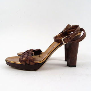 Gucci Braided Leather Open Toe Leather Sandal Pump