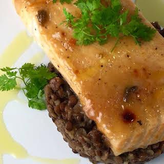 Roasted Salmon with Orange Mustard Glaze.