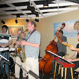 The jazz lovers once again gathered to enjoy the dynamics of a jam session, with a fine group of musicians joining in to blend instruments and voices. Led by Roger Villines on trumpet.