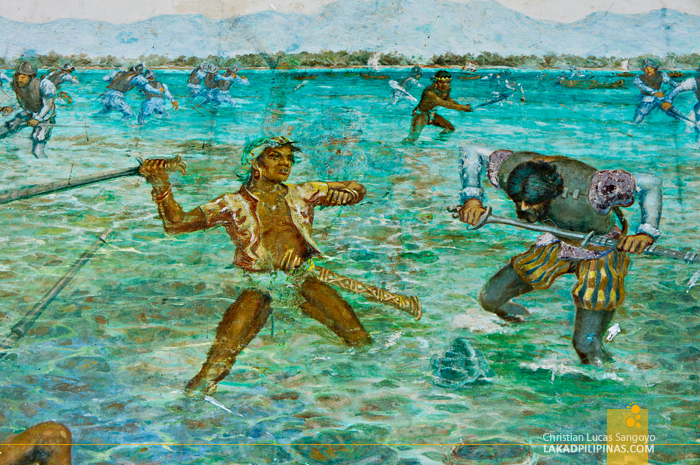 A Faded Painting of the Battle of Mactan at Mactan's Lapu-Lapu Shrine