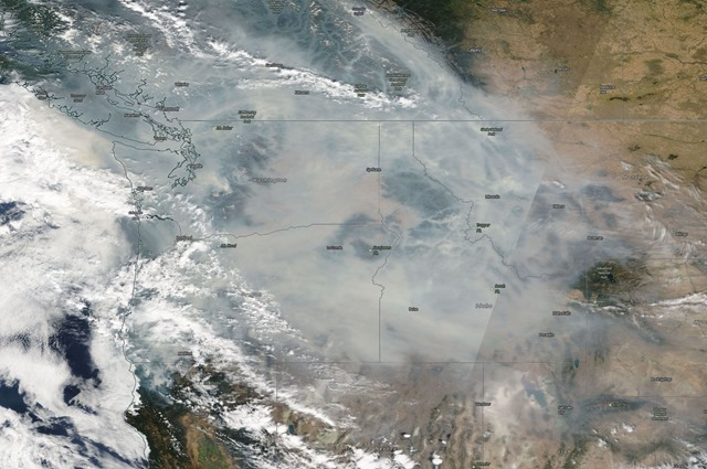 Satellite view of wildfire smoke over the Pacific Northwest, 6 September 2017. Photo: NASA / Worldview