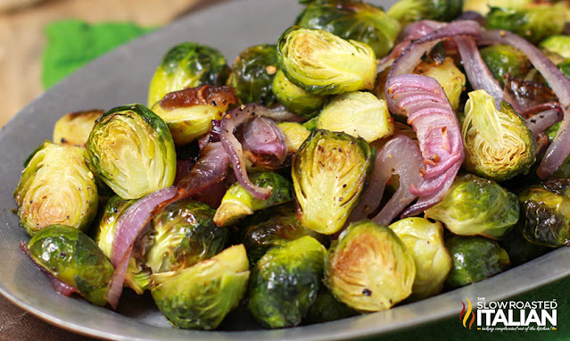 plate of Roasted Brussel Sprouts with Garlic
