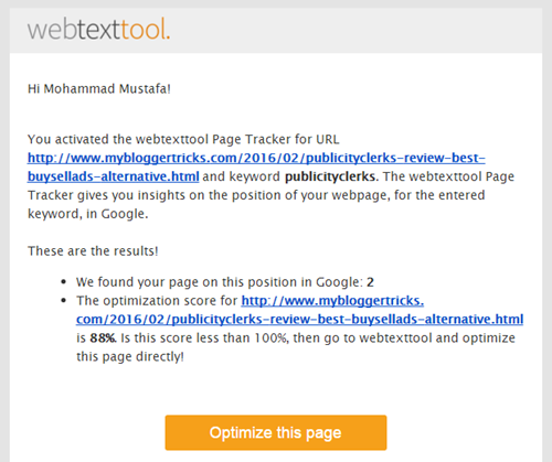 webtexttool email notification