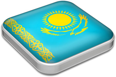 Flag of Kazakhstan with metallic square frame
