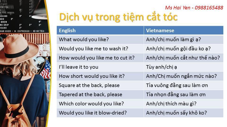 Những mẫu câu hỏi tiếng Anh giao tiếp chủ đề cắt tóc