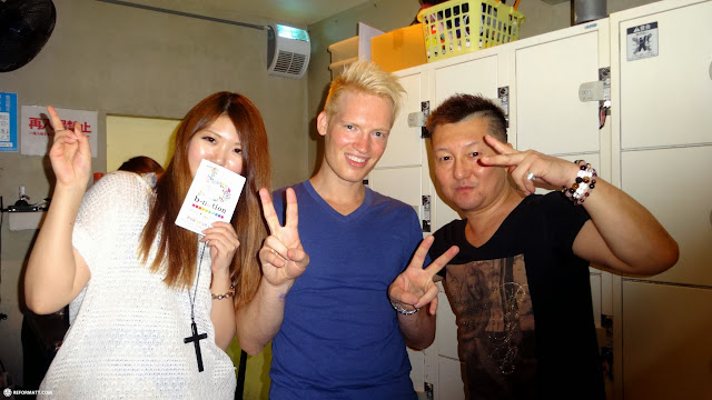 being welcomed back by Bancho and Anna at B-1 Dynamite!! in Tokyo in Roppongi, Tokyo, Japan