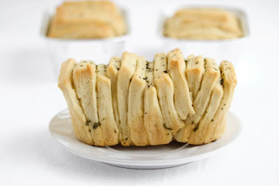 close-up photo of a pull apart bread on a plate