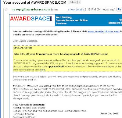 Awardspace帳號說明信,裡頭有帳和密碼