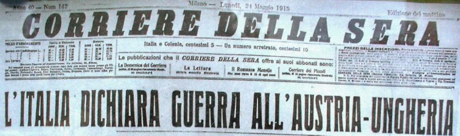 La prima pagina del Corriere della Sera di lunedì 24 maggio 1915
