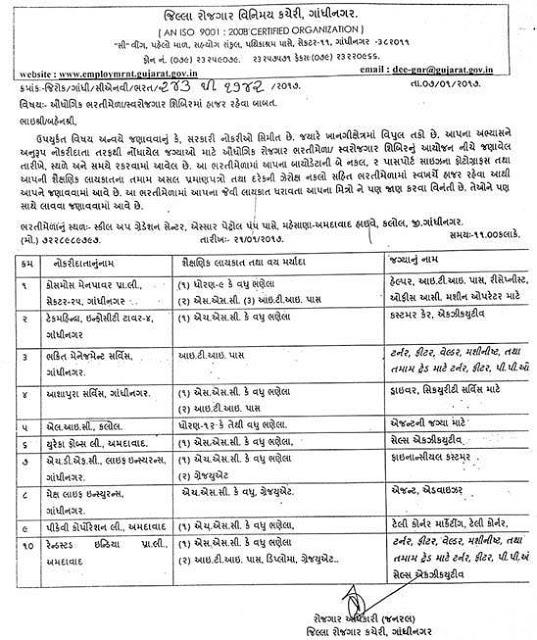 rojgar vinimay kacheri gandhinagar recruitment