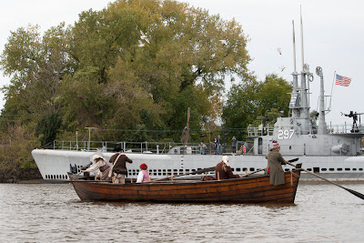 With the Ling, RE-ENACTORS ON  BATTOE 'MOON' ON THE HACKENSACK RIVER. Photos by TOM HART/  FREELANCE PHOTOGRAPHER.