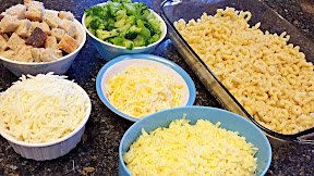 Ingredients for the Melt recipe of 3 cheese macaroni and cheese casserole w broccoli and sweet pugliese topping