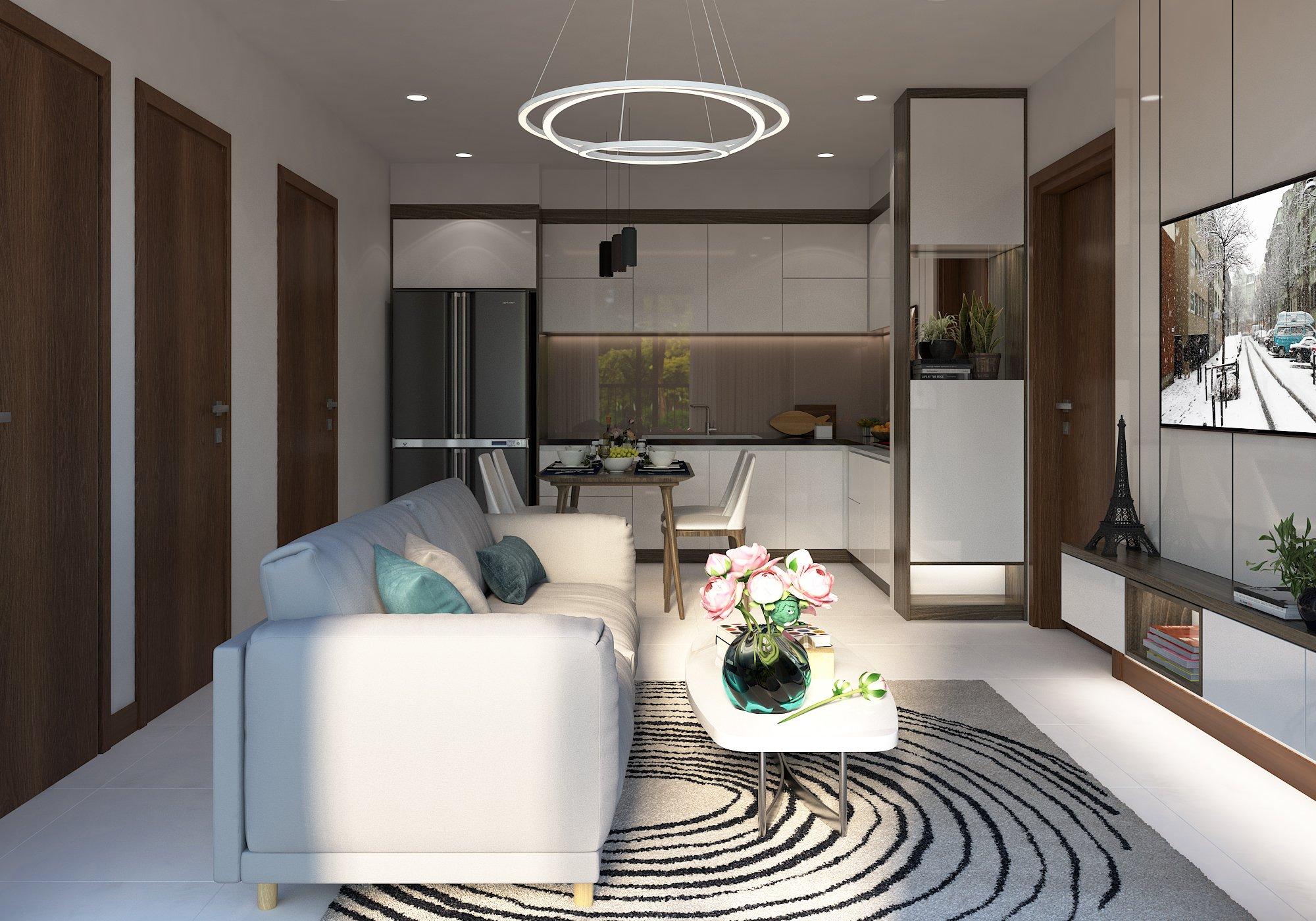 Thiết kế phòng khách Bcons Suối Tiên căn góc