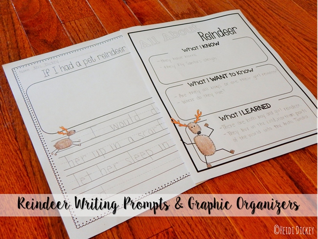 Reindeer Writng Prompts & Graphic Organizers