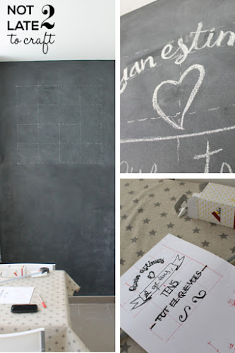 Not 2 late to craft: Paret de pissarra magnètica / Magnetic chalkboard wall
