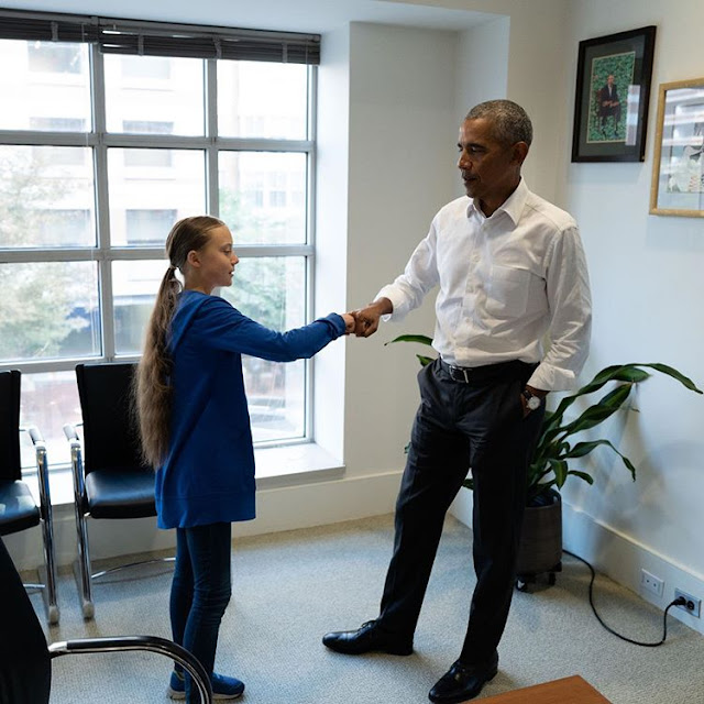 She's Amazing! Barack Obama meets with Greta Thunberg, 16 years Old Environmental Activist with over 3.6m Followers