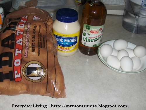 photo of ingredients for German Potato Salad