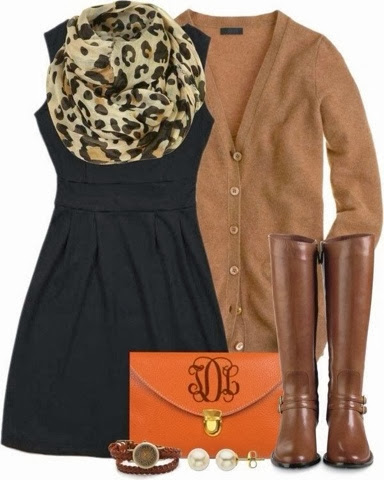 Cheetah scarf, tan cardigan, black dress, orange handbag and brown long boots