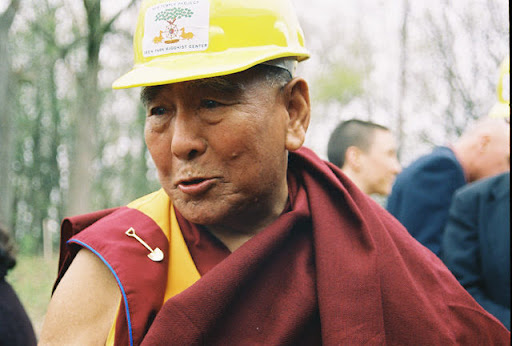 Geshe Sopa at groundbreaking for temple at Deer Park Buddhist Center, Oregon, Wisconsin, U.S., 2004. Photo by Kalleen Mortensen.
