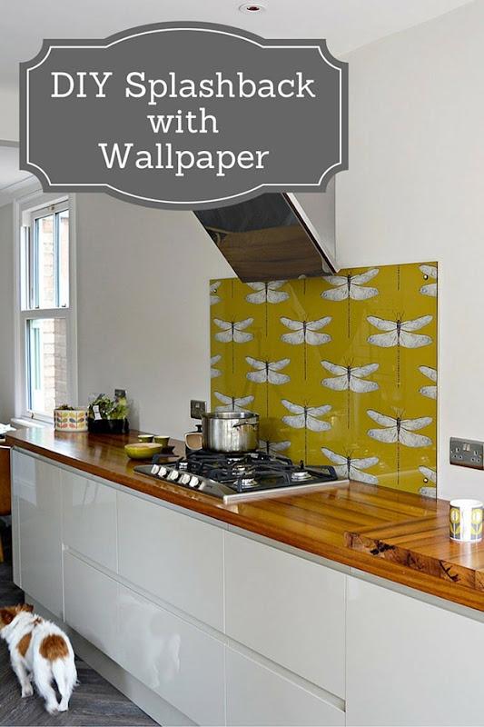 DIY-Splashback-with-wallpaper-pin