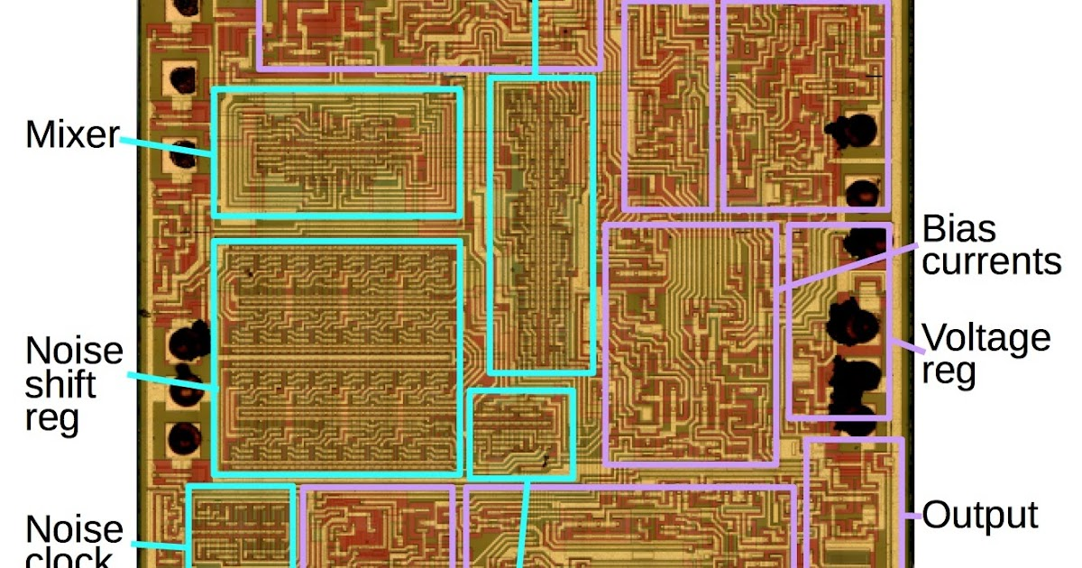 """Reverse engineering the 76477 """"Space Invaders"""" sound chip from die photos (2017)"""