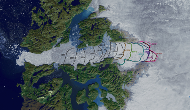 Satellite view of the retreat of Jakobshavn glacier in Greenland. Photo: NASA Goddard Space Flight Center Scientific Visualization Studio