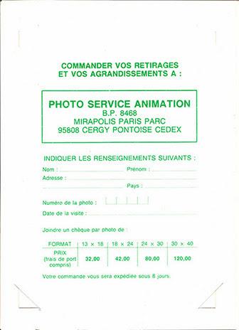 Carnet photo mirapolis les rapides commande et tarifs de retirage 1987 - avant