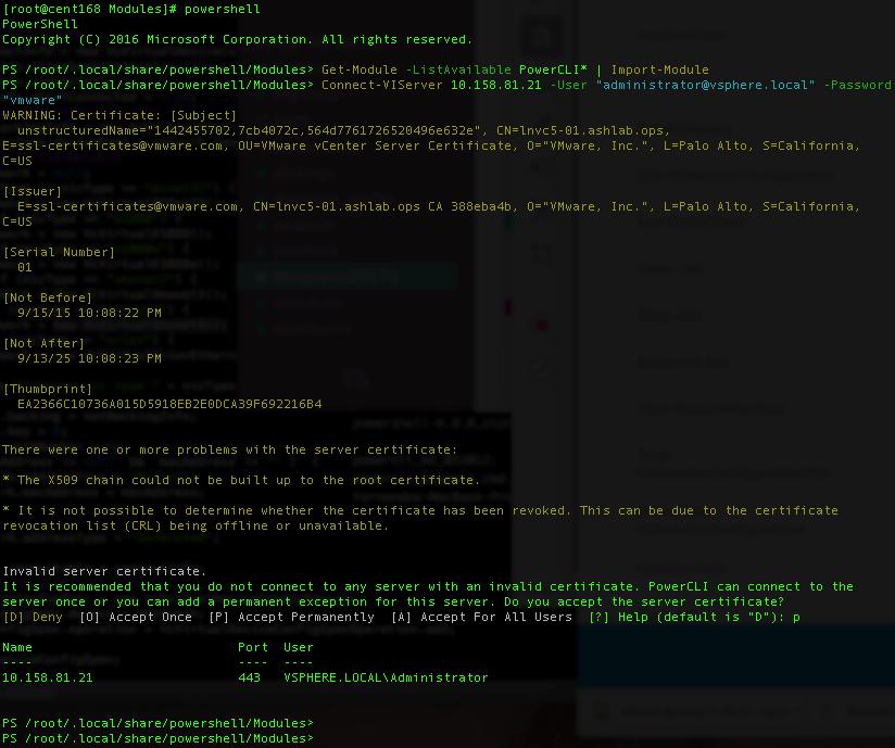 PowerShell / PowerCLI for Linux Server (Centos) | Fdo's