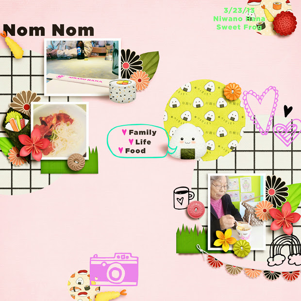 Nom Nom // Scrapbook Layout // 12x12 // Oishii by lliella designs