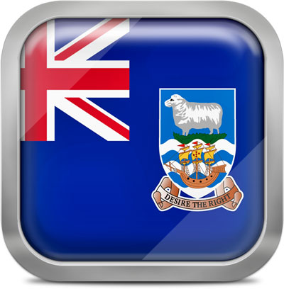 Falkland Islands square flag with metallic frame