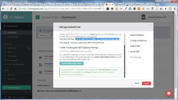 Web Push Notification OneSignal WPSDK Test