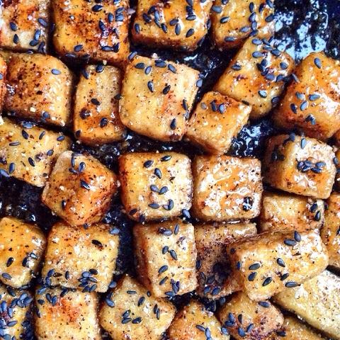 crispy glazed tofu with honey, chilli and ginger
