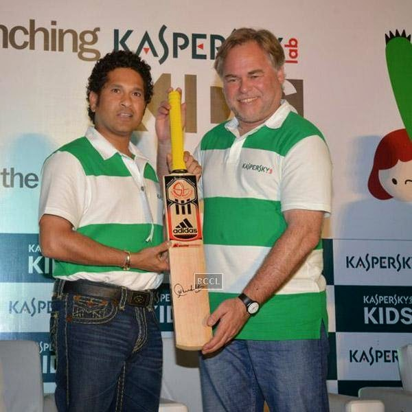 Sachin Tendulkar and Eugene Kaspersky pose for a photo during Kaspersky Kids awareness programme, held at Ryan International School, on July 23, 2014. (Pic: Viral Bhayani)