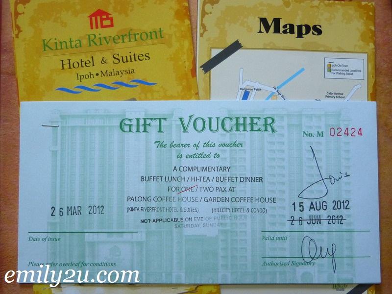 Emily2U Freebie Giveaway #6 - FREE F&B Vouchers @ Kinta Riverfront Hotel & Suites