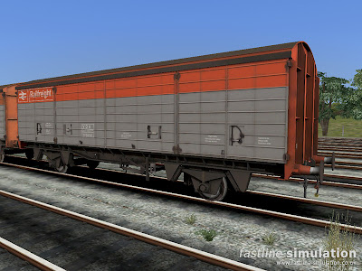 Fastline Simulation: VDA van to lot 3855 for RailWorks in slightly grimy Flame Red and Grey livery.