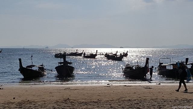 Railay West Beach where long-tail boats could be boarded for trip to Ao Nang.