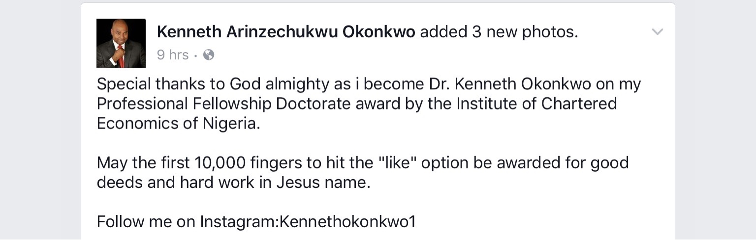Nollywood actor Kenneth Okonkwo awarded Professional Doctorate Fellowship Award [PHOTOS] 4