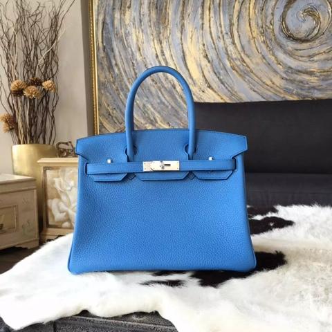 hermes kelly bag 32cm blue paradise clemence ghillies palladium hardware