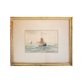 Signed Watercolor Nautical Painting
