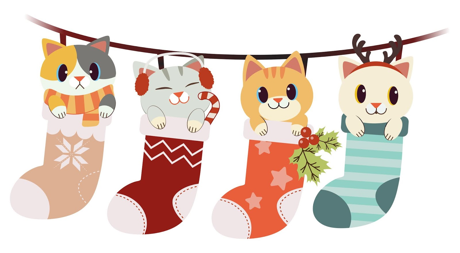 Collection Cute Cat Big Sock Set Christmas Winter Theme Free Download Vector CDR, AI, EPS and PNG Formats