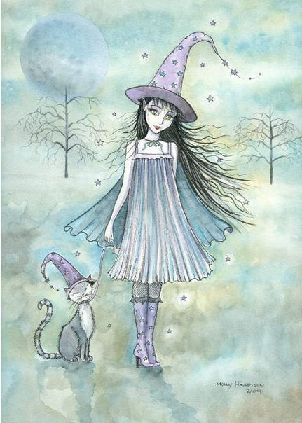 Wiccan Girl And A Cat, Wicca Girls