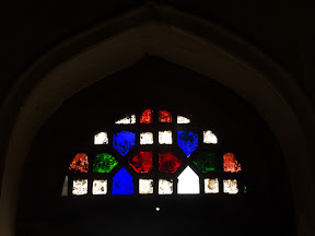 A colorful window at first floor.