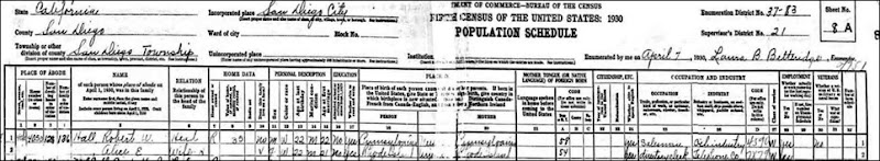 1930_HALL_Robert W with wife Alice_ actual census sheet_San Diego