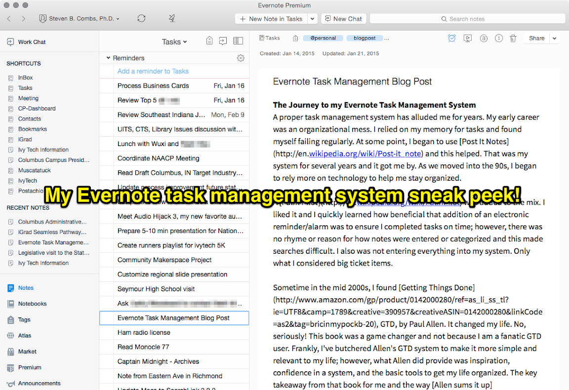 My Evernote task management system sneak peek
