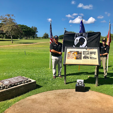 The POW/MIA Flag arrived last night, 5 FEB 2018, from New Mexico to American Veterans Hawaii. Day One...