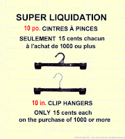 SUPER LIQUIDATION ~ 15 cents chacum ~ 10 po. CINTRES À PINCES